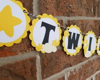 Neutral Twinkle Twinkle Little Star Banner... Baby Shower... Garland... Blackand Yellow