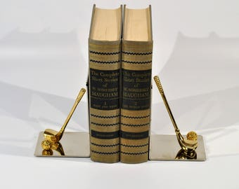 Brass and Chrome Golf Club & Ball  Bookends/Golf Desk library  Set /Golf Driver And Iron Bookends /golf art