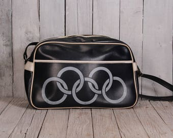 Coach bag - Shoulder bag - Sport bag - Old olympic bag - Olympics bag - Five rings bag - Vintage travel bag - Old sport bag - Dark blue bag