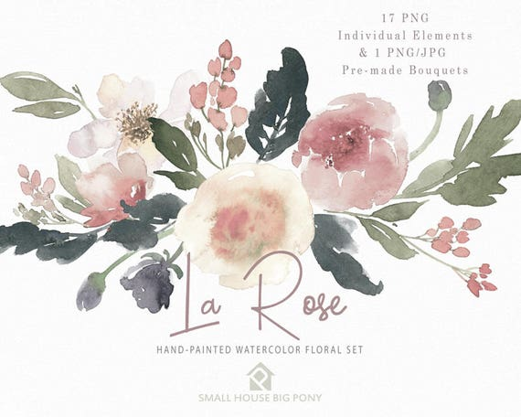 Watercolour Flower Clip Art Collection - Hand Painted Graphics,  hand drawn clip art,  flower clip art - La Rosa Elements & 1 Bouquet