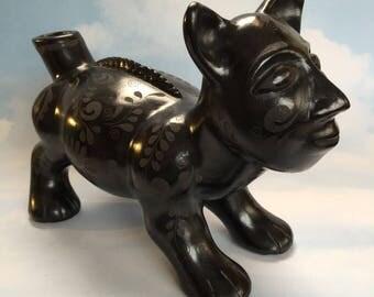 P Matoes Tonala Mexico Barro Negro Black Pottery Figural Jaguar Mayan Style Figurine Native