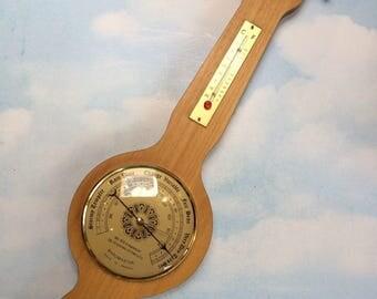 """22"""" Vintage French Instruments Banjo Thermometer Hydrometer Barometer Weather Station France Teak"""