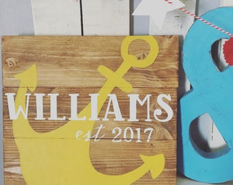 Personalized Family Name Sign with Anchor (Customizable) Established Nautical Decor