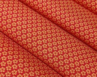 Red-orange silk Kimono Fabric with pinwheel flowers- by the yard