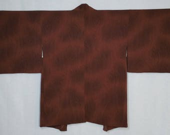 Women's Silk Haori kimono jacket - warm brown wood grain pattern - unused