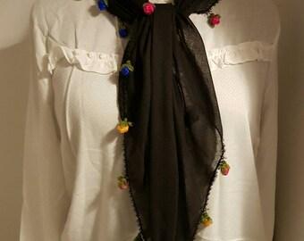 Bandana hair band scarf with roses Rainbow gift her gift, Turkish igne oyasi