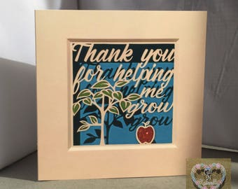 Thank you for helping me grow, print card and envelope