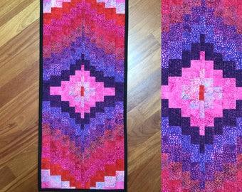 "Table runner  modern quilted batik bargello style table runner table topper dresser scarf runner   Bright colors  16.5"" x 37"""