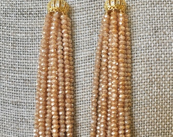 Gold Beaded Chandelier Earrings