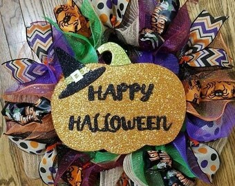 SALE Halloween Wreath, Holiday Wreath, Happy Halloween Wreath, Deco Mesh Wreath, Ribbon Wreath, Mesh Wreath