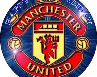 "MANCHESTER UNITED FC - Design 1... Personalized 7.5"" Edible Circle Icing Cake Topper"