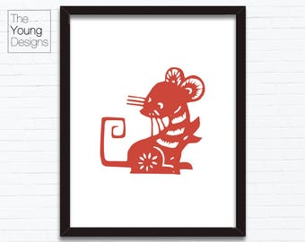 Chinese Zodiac Rat, Astrology Animal Sign, Birthday Year printable posters, paper cutting style, Birthday gift ideas
