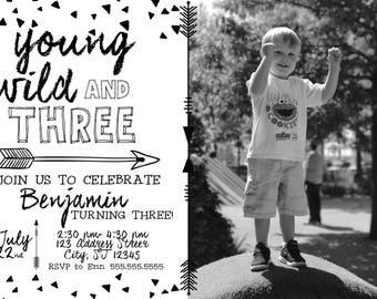 Yound wild and three digital birthday invitation (B)