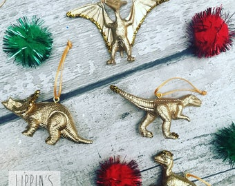 gold golden dinosaur hanging decorations set of 4 tree decorations dinosaur