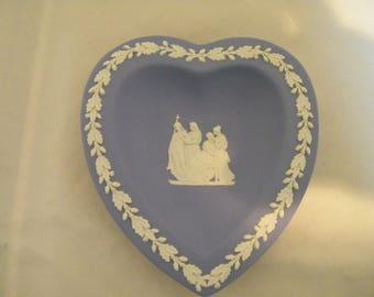 Vintage Wedgwood Blue Jasperware Heart Trinket Dish