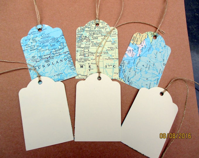 Custom order- for Casey-150 map tags-one side blank- back W/cream craft paper with holes and string-cream twine-handmade-ships 3-5 day