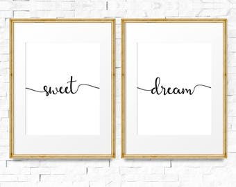Sweet dream poster, Set of 2 prints, Nursery prints, Scandinavian baby, Digital nursery art, Instant download, Kids bedroom print,