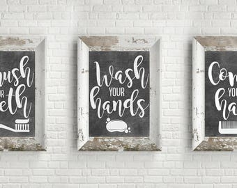 PRINTABLE Bathroom Wall Decor - Bathroom Signs - Chalkboard Bathroom Wall Art - Brush Your Teeth - Wash Your Hands - Comb Your Hair