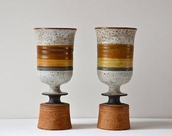 Studio pottery wine goblets
