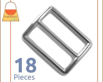 "1.25 Inch Slide for Purse Straps, Shiny Nickel Finish, 18 Pieces, Handbag Bag Making Supplies Hardware, 1-1/4"", BKS-AA026"
