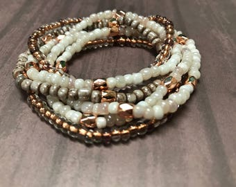 White and Rose Gold and Gray Seed Bead Bracelets (set of 6)