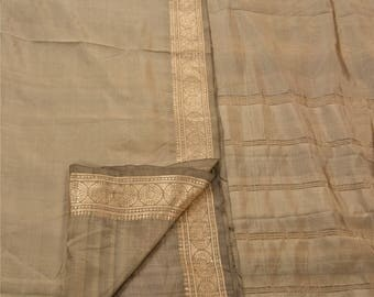 KK Indian Saree Pure Silk Woven Brocade Grey Fabric Sari