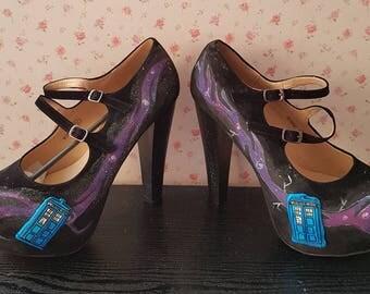 Doctor who ladies heels. Doctor who. Tardis heels. Galaxy heels. Nebula shoes.