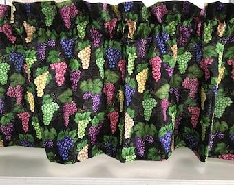 "Wine Grapes on a Vine Valance Curtain 42"" W x 13"" L"