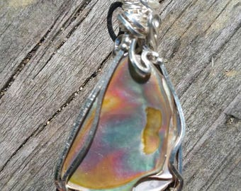 Red Abalone pendant necklace wrapped in sterling silver filled wire.