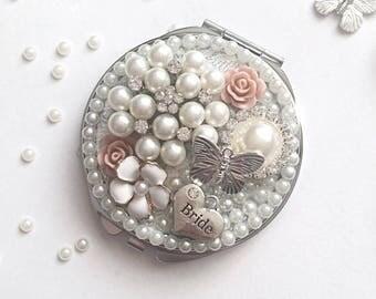 Personalised Compact Mirror, Bridesmaid Gift,