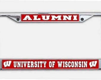 University Of Wisconsin Alumni Chrome License Plate Frame