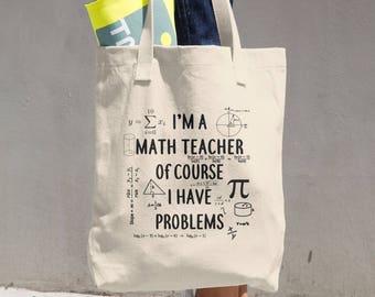 Math Teacher Tote - Cotton Tote Bag - Gifts for Math Teachers - 14 x14 Tote