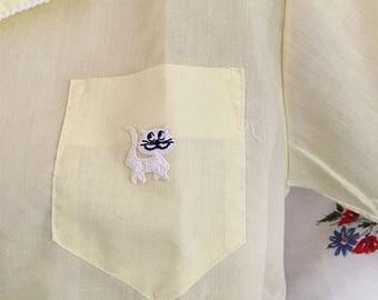 Unique Yellow kitty pajama shirt vintage 1960s