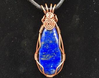 Lapis Lazuli Copper Wire Wrapped Pendant