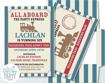 Vintage Railway Train Party Printable Invitation in Red & Blue, 5x7in. Instant Download