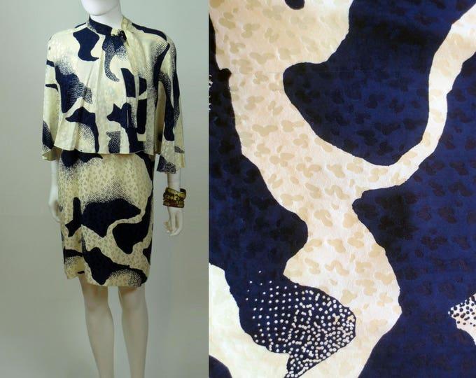 80s Maxim's de Paris jacquard ink blot printed ruffled cape sleeve silk charmeuse mini dress