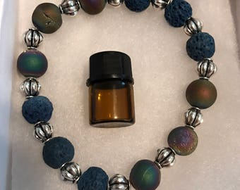 Unicorn Aromatherapy/Essential Oil Bracelet with Lava Beads