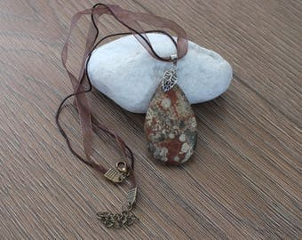 Natural Brown/Cream Agate Necklace