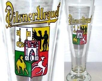 Pilsner Urquell Glass / Original Pilsner Beer / Czech Republic / Fluted Beer Glass / Man Cave / Brewery Collectible - item 286D