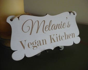 Personalised Vegan Kitchen Sign, Vegan Gift, Custom Kitchen Door Sign, Vegan Wooden Sign, Vegan Home Decor, Kitchen Plaque