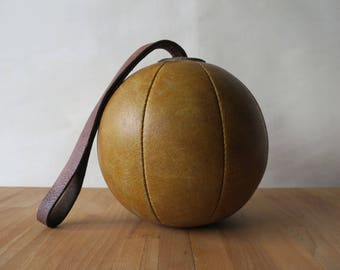 Vintage German Original All-Leather, 1.4 kg Gymnasium Training Medicine Ball w/ Strap - Physical Education, Exercise Weight, Boxing, Fitness