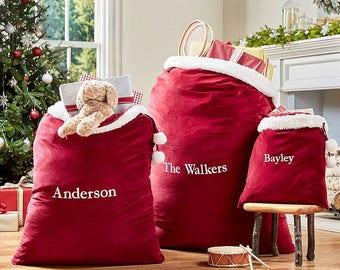 Santa Bag, Santa sack, Red Velvet Santa Sack, Gift Sack, Travel gift bag, Red Velvet