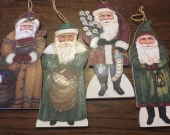 4 Vintage Hand-Painted Folk Art Belsnicle Santa Ornaments by Kathy Seburn for Bethany Lowe Designs M1015
