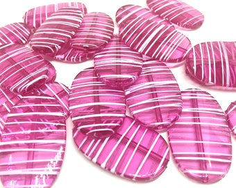 XL Dark Pink Painted 45mm beads, chunky jewelry, wire bangle, jewelry making, magenta Jumbo Beads, pink beads, large beads, pink necklace