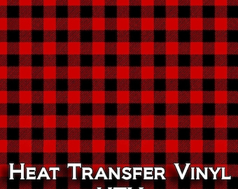 "18"" x 12"" Buffalo Plaid Red And Black Patterned HTV Heat Transfer Vinyl Red And Black Plaid, Buffalo Check Tshirt Material"