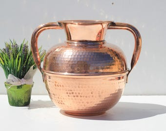 Villedieu  Antique Large French   hammered copper jug,copper urn,copper vase