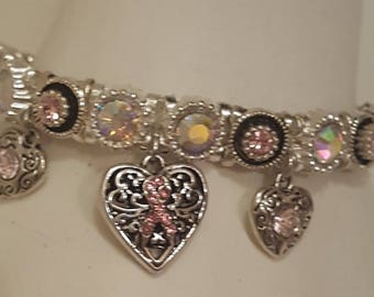 Pink Ribbon Bracelet, Breast Cancer Bracelet, Free shipping.