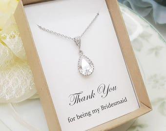Tear drop Crystal Bridesmaid Necklace,Bridesmaid Jewelry Gift, Bridesmaid Necklace Gift