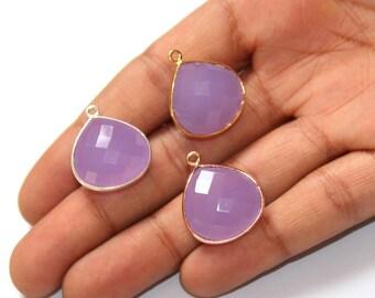 1 Pc 17x16mm Bezel Set Lavender Chalcedony Faceted Heart Shape Pendant / Single Loop Pendant / Gemstone Charm Pendant / Select Finish C02