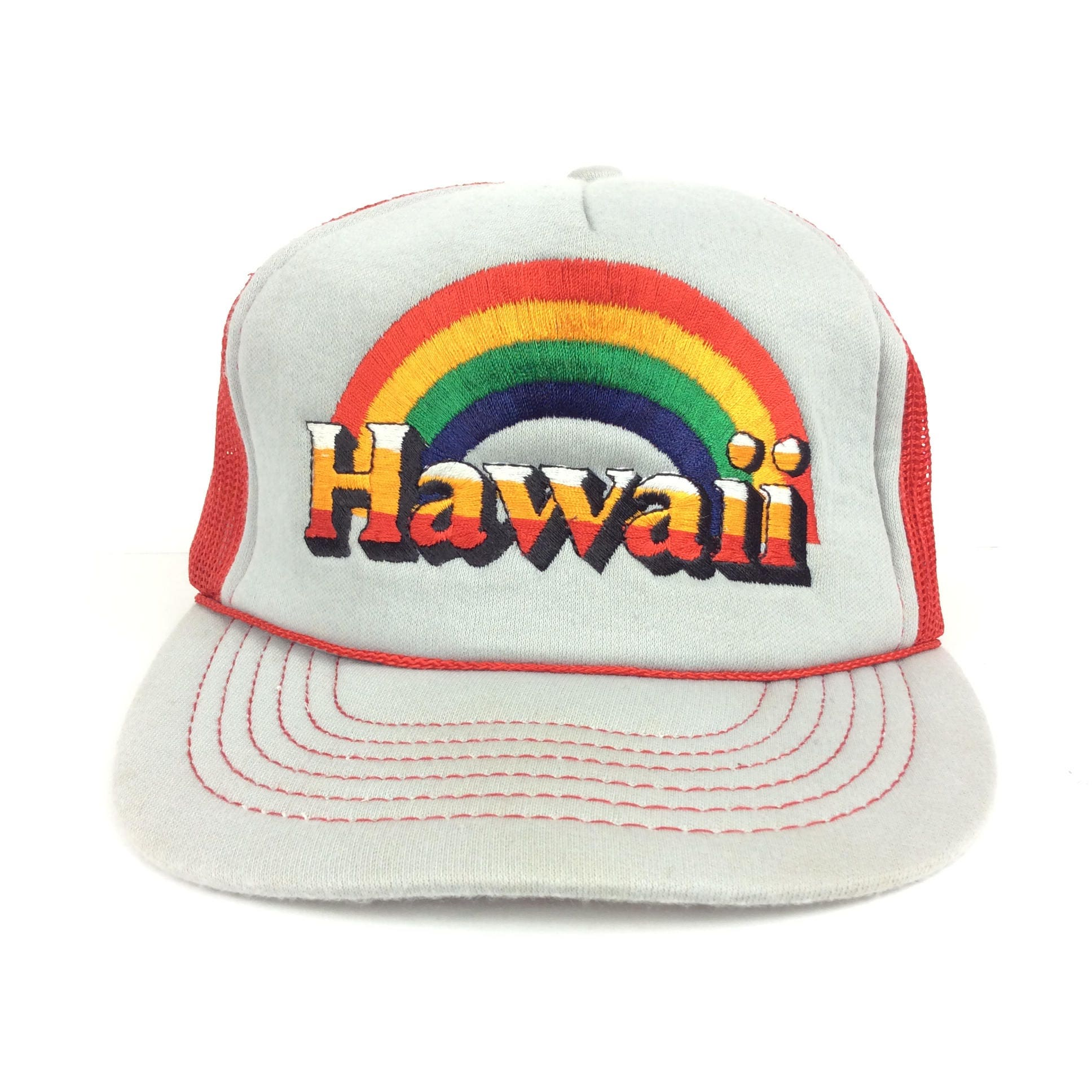 On Sale Now Vintage HAWAII Embroidered Rainbow Logo Red Gray Trucker ...